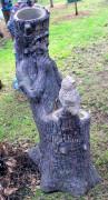 Фигура для дачи «Пень с совой (цветник два кашпо)»