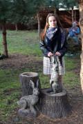 Садовая фигурка «Зайцы на пне (цветник)»