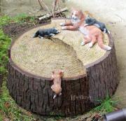 Садовая скульптура — Декоративная крышка люка «Кошка на пне»