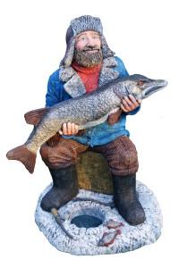 """Садовая фигура """"Рыбак на льду"""""""